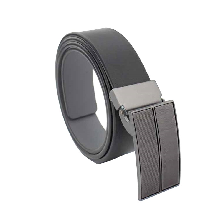 Logo Clip Automatic Buckle Covered Pu Leather Belt, Pu Leather Belts For Men
