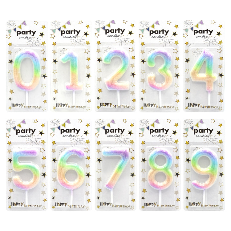 Children'S Rainbow  0-9  Digital Cake Decorations Cute Creative Happy Birthday Number Candles