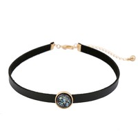 xl02124 Simple Stylish Wholesale Geometric Gemstone Resin Black Leather Circle Gem Choker Necklace for Women 2020