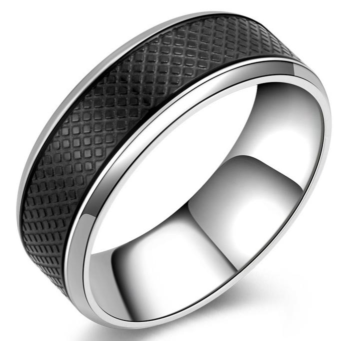 थोक नई आगमन 316L स्टेनलेस स्टील काले चांदी दो टन हीरा कटिंग पैटर्न शादी की सगाई बैंड अंगूठी SZ #7 -12