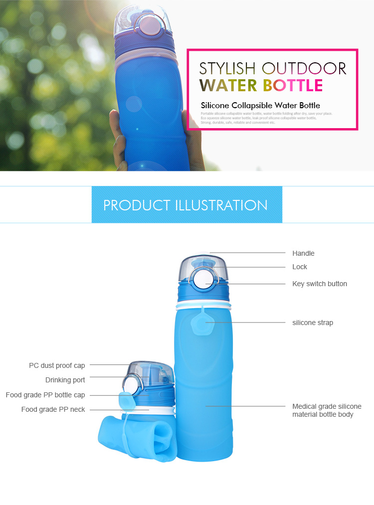 2019 Hot Sale Eco Friendly BPA Free Drink Foldable Collapsible Silicone Water Bottle