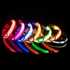 Led Light Nylon Usb Rechargeable Flashing Adjustable Pet Collar For Dogs