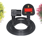 1M 1.5M fuse 5a 3 Pin 6Ft Prong Black Ac Cable with BS Plug C13 Kettle Power Cable UK Mains plug to C13