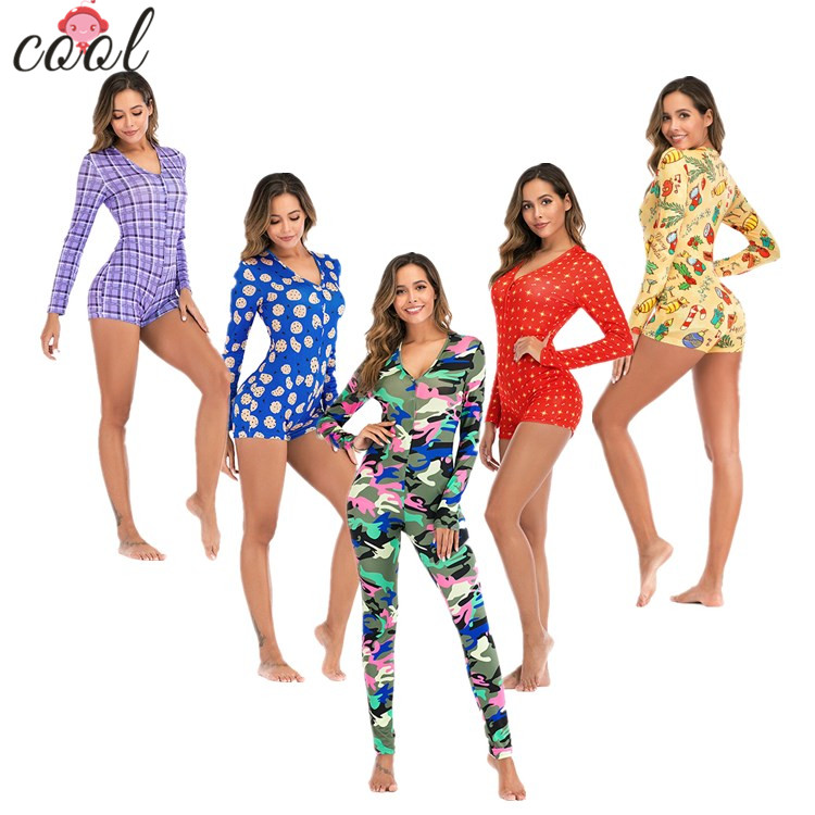 Wholesale custom Bodycon Stretchy Onesie Shorts Rompers Adult Onesie Pajamas For <strong>Women</strong>