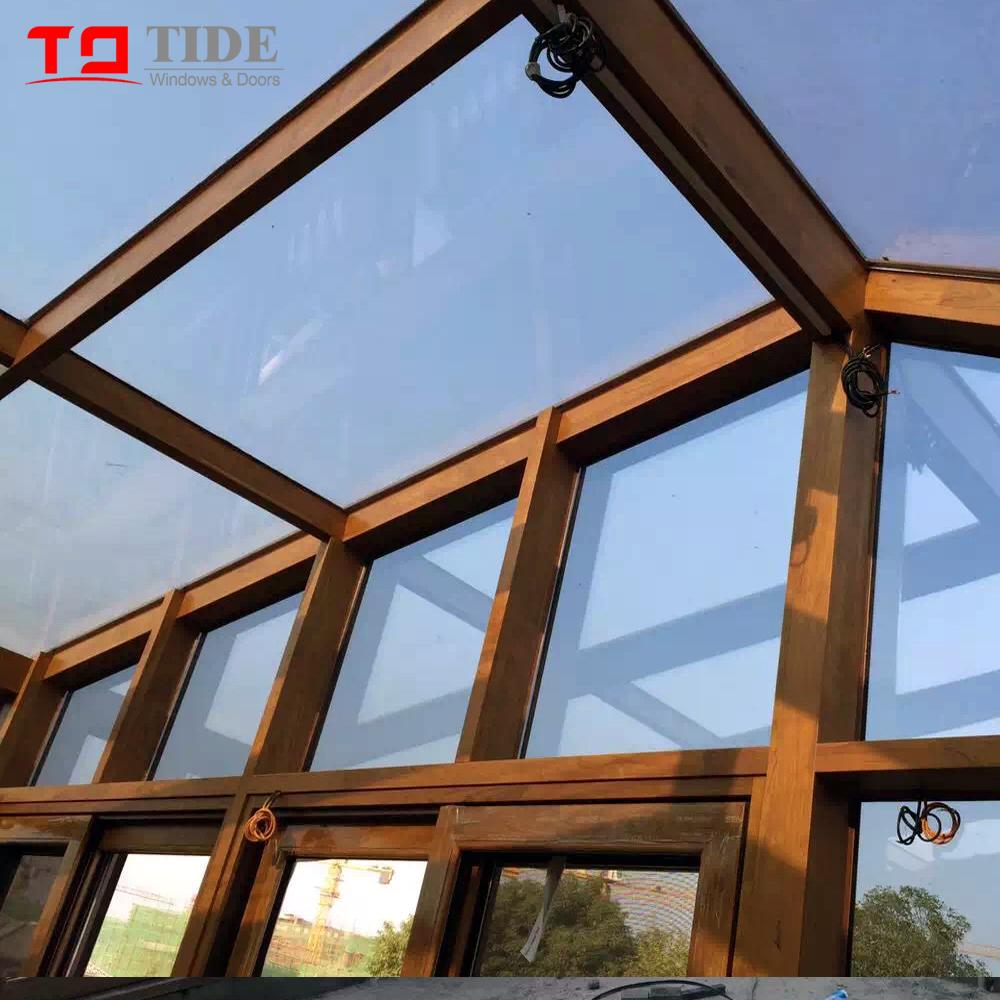 Veranda Metal Et Verre villa bâtiment toit en verre aluminium bois cadre véranda