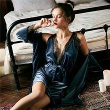 JULY'S SONG Модный женский зимний пижамный комплект, бархатный халат, бальный комплект, осенняя Сексуальная кружевная Пижама на бретельках, ночн...(Китай)
