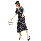 Wholesale V-neck Casual Floral Print Short Sleeve Fit and Flare Ladies Dress