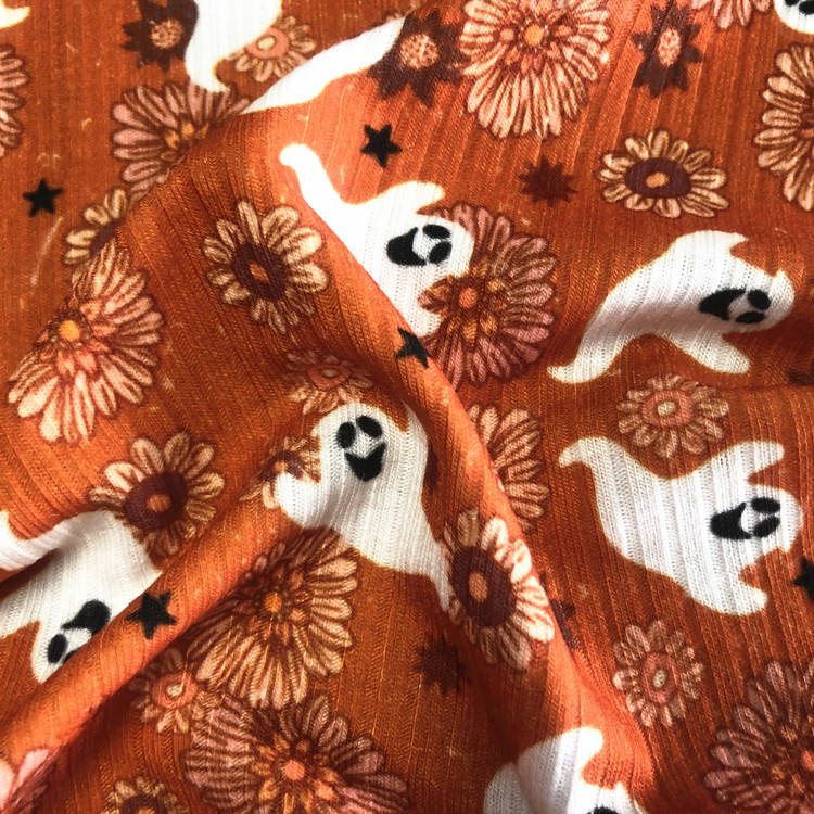 Popular Halloween design digital print custom 100% polyester rib knit fabric for sweater