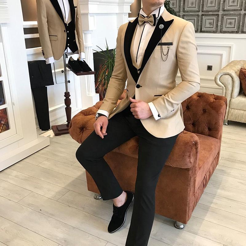 नई डिजाइन खाकी रंग कस्टम मेड 2 टुकड़ा के लिए पुरुषों उच्च फैशन रंगीन जाकेट शादी टक्सेडो सूट सेट