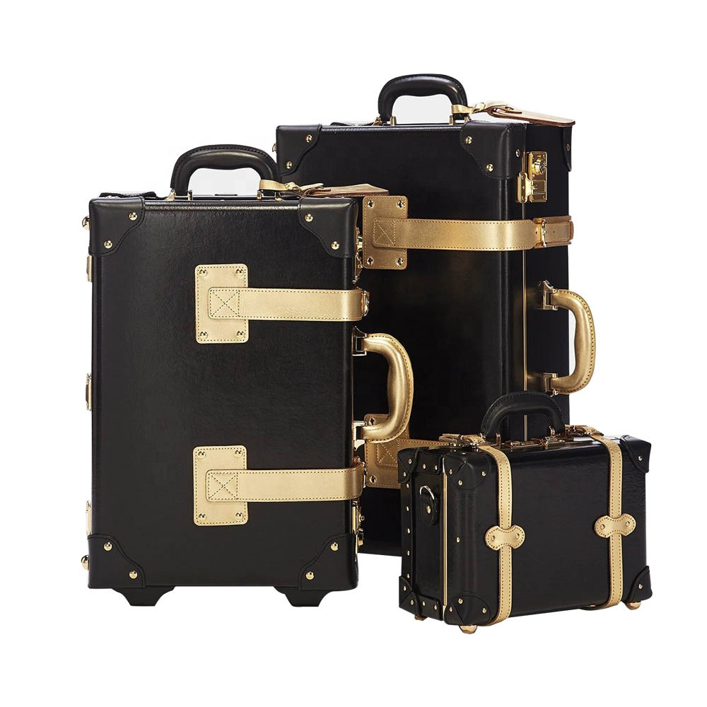 2019 New design trendy vintage portable black leather luggage suitcase set