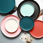 Nordic Style Macaron Matte Ceramic Charger Plate Shallow Round Morandi Home Restaurant Dinner Plate/