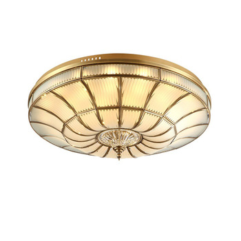 Hot Room Modern Hotel 40W Indoor Living Contracted Corridor Villa Glass Creative Golden Ceiling Hanging Copper Lamp