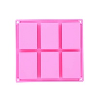 Wholesale 6 cavities Homemade craft square soap moulds rectangle loaf silicone soap making molds