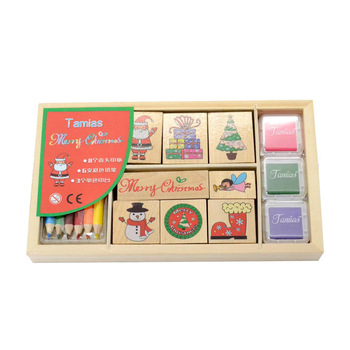 KJWD2011011 custom non toxic wooden craft kids toy rubber stamp with ink pad kit OEM wooden rubber stamp set