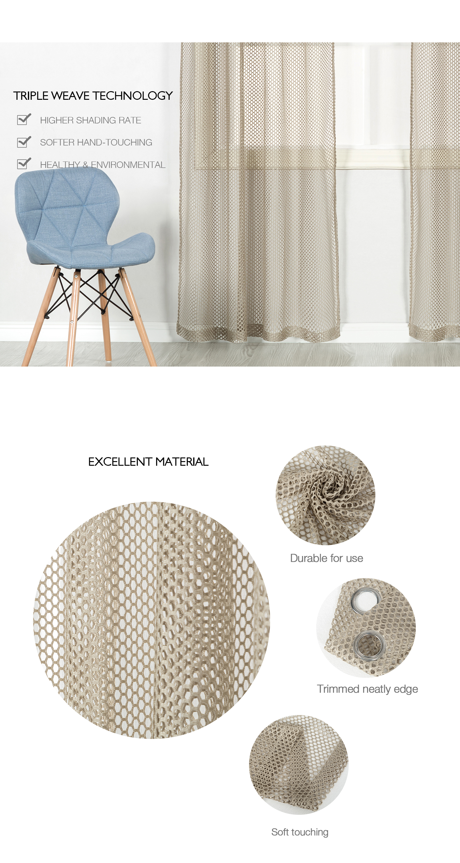 Classical hot selling ready made curtain polyester woven mesh fabric curtain