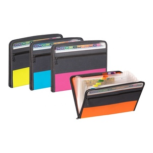 A4 Plastic 13 Pocket Expanding File with Zipper, Letter Size Poly Zipper Expanding File Folder for School Students