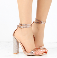 Women's Fashion Rhinestone Block High Heel Sandals - Clear Lace Up Ankle Strap Diamante Heels