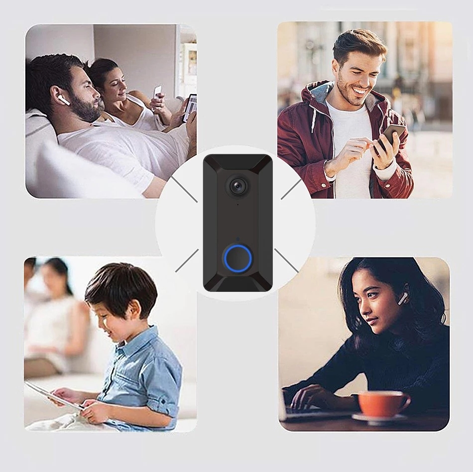WiFi Two-Way Audio Smart Video Doorbell Camera with Motion Detector 720P HD Home Security Camera with Cloud Storage