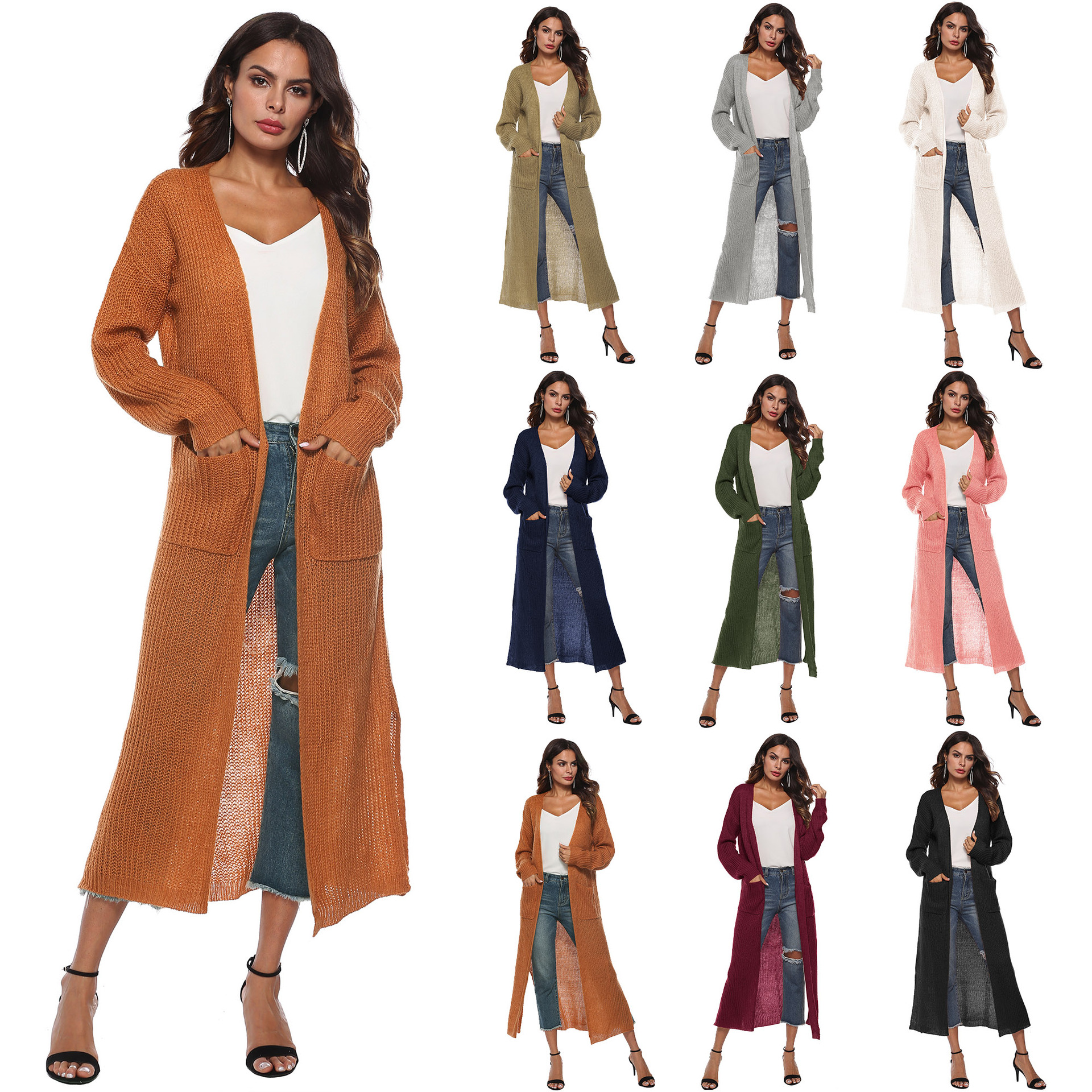 2020 Fashion Women's Oversize Sweater With Pocket Coat Long Sleeve Knitted Cardigan Striped Sweater Coat