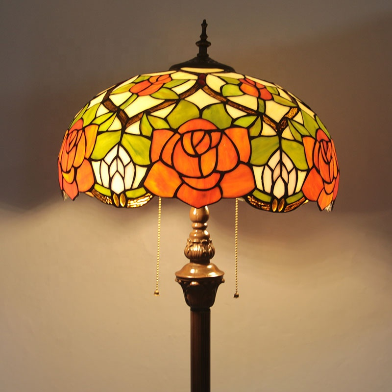 Floor Standing Lamp Tiffany Style Roses Reading Floor Lamp 67 In and yellow tiffany desk reading lamps
