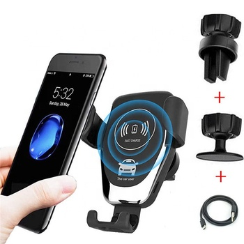 2020 new car gravity sensor clip wireless charger outlet bracket QI fast charge universal