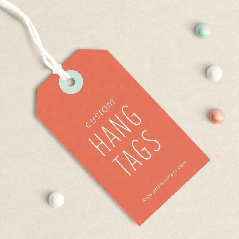 Custom Paper Brand Apparel Product Tags, Custom Logo String Hang Tag For Clothing Hangtag