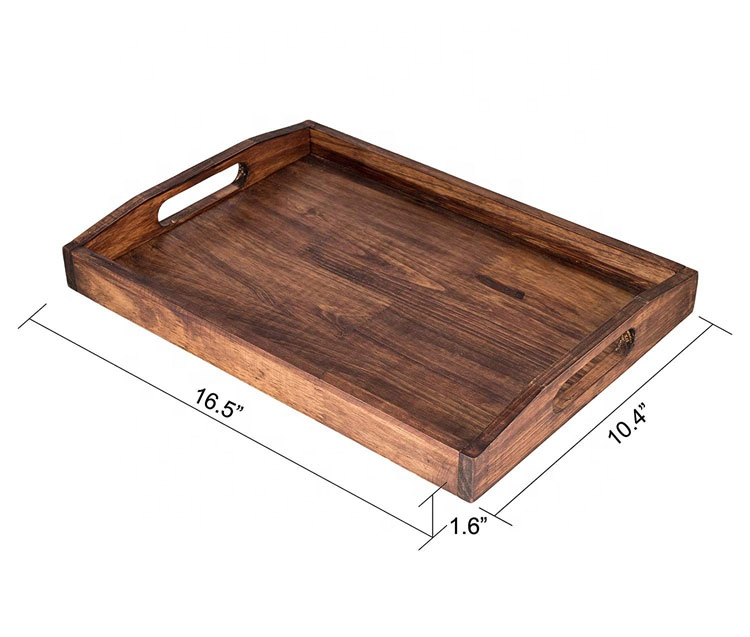 Large Fruit Food Breakfast Serving Tray Wooden Serving With Handles