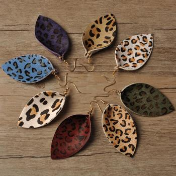 2020 Newest Vintage Leather Jewelry Accept Small Order Trendy Leopard Leather Earrings Stocks Selling Colorful Fashion Earrings