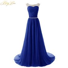 BeryLove дешевые ярко-синие вечерние платья 2020 расшитое блестками шифоновое платье для выпускного вечера вечерние платья с прозрачными плечам...(Китай)