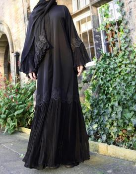 Newest Muslim Middle East Woman Cardigan Hot Sale Pleated Long Maxi Dress Abaya Dubai Style