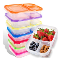 BPA free3 compartment Plastic food meal prep lunch box bento container/tiffin box lunch