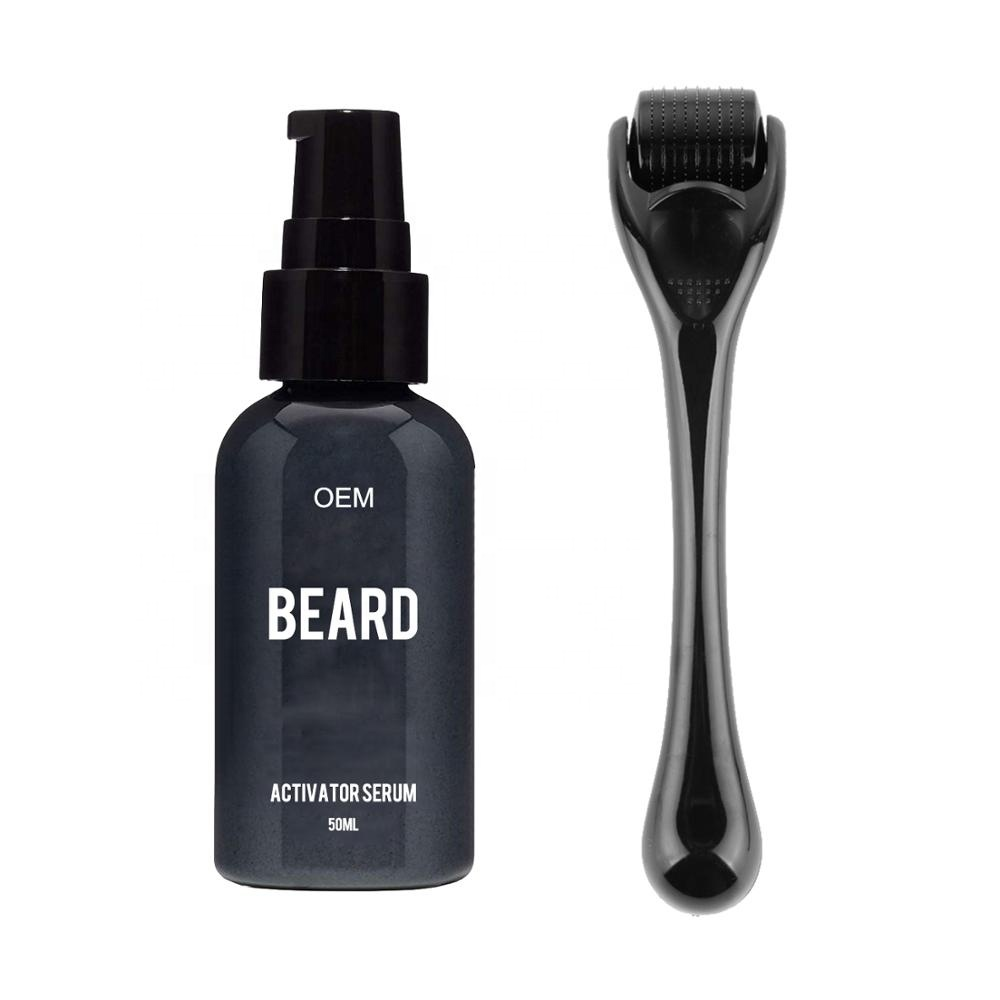 Private Label Natural Men 50ml Beard Growth Activator Oil Serum with Needle Roller