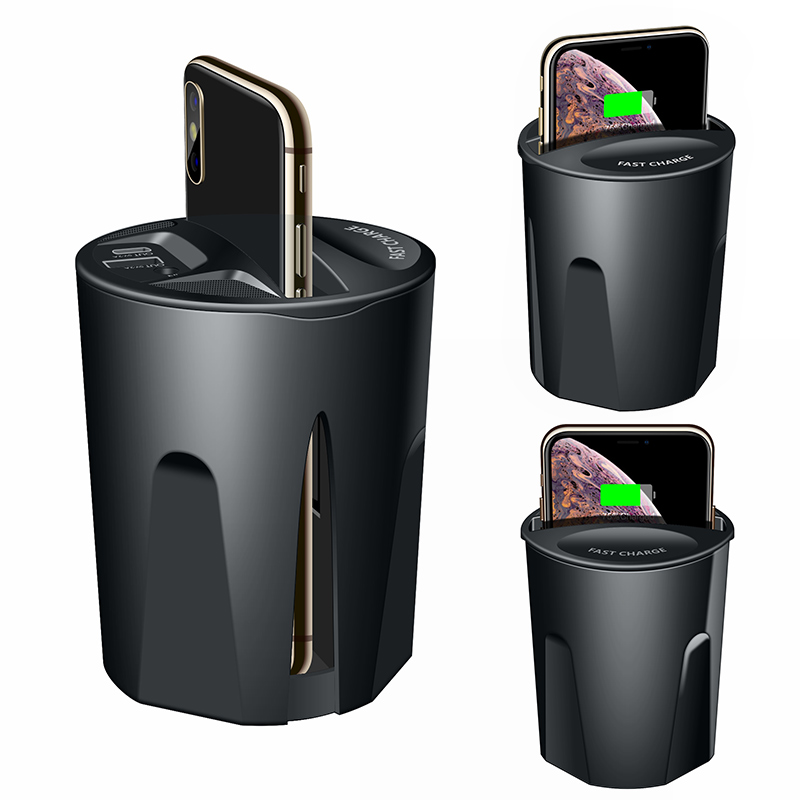 Qi Wireless Charger car Cup Holder,10W 7.5W Magnetic Mount with USB Type C Port for cell phone