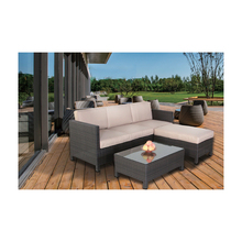Teras <span class=keywords><strong>Sofa</strong></span> Rotan PE Leisure Rotan Furnitur Sectional Percakapan Outdoor Furniture <span class=keywords><strong>Sofa</strong></span> <span class=keywords><strong>Set</strong></span> 4 Kursi