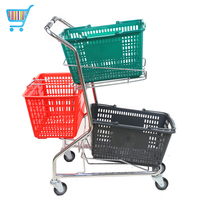 Japanese style Two Baskets Supermarket Shopping Cart,Basket Cart,Shopping Trolley double basket shopping cart