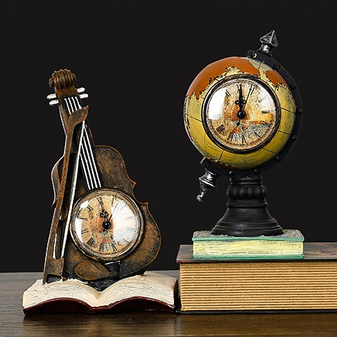 RESIN MINI UNIVERSAL TELLURIAN MERIDIAN RING TERRESTRIAL GLOBE EARTH BOOKENDS VIOLIN TROPHY WITH CLOCK ARTICLE STATUE MONEY BOX