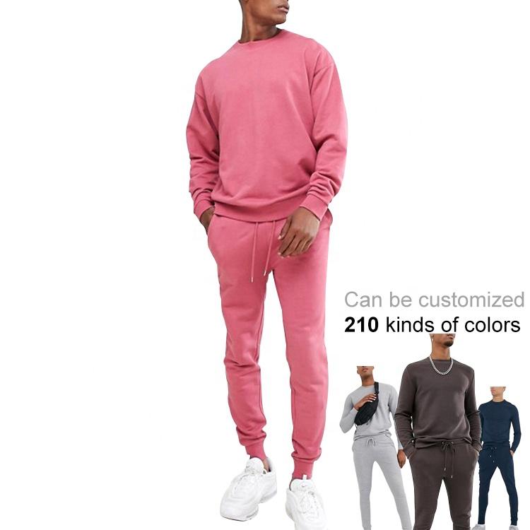 Haut de gamme survêtements à la mode personnalisé rose survêtement hommes français terry survêtement