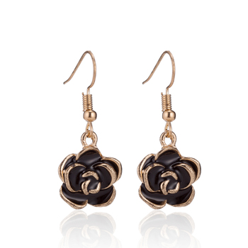 Wholesale jewelry classic ear stud noble black rose alloy lady ear hook earrings