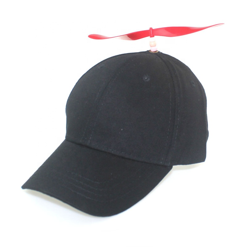 Black 6-panel children toy bamboo dragonfly cap baseball hat