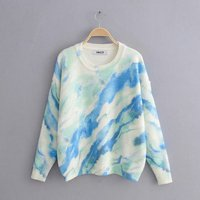 Color tie dyed long sleeves knitted cozy fall women winter sweater