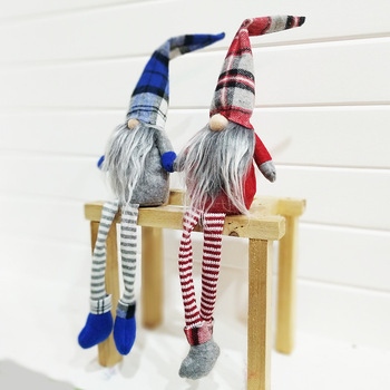New Christmas decoration plush elf toys with long leags sitting on shelf