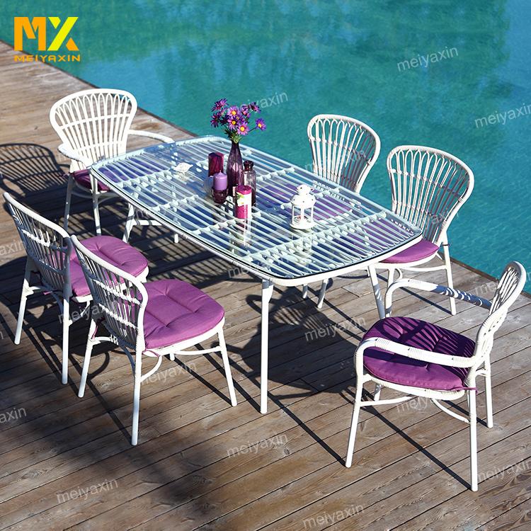MX mejor venta barato blanco bistro francés de mimbre de ratán de jardín silla (aceptar personalizado)