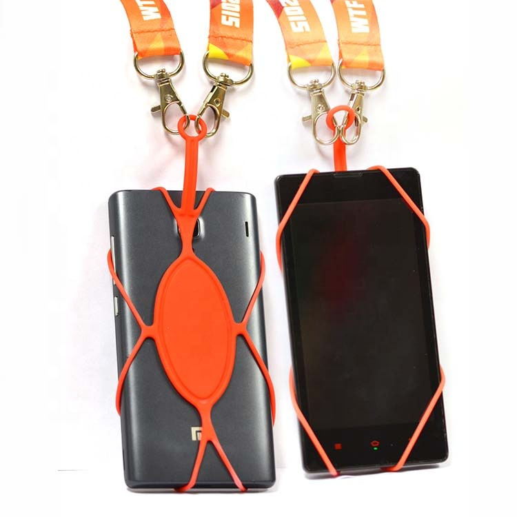 Newest silicone cell phone holder hand strap custom mobile phone case with shoulder neck strap