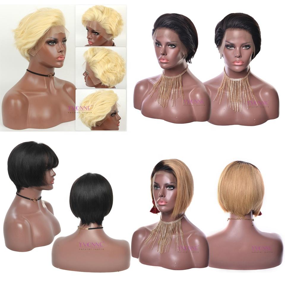 YVONNE New Design Pixie Cut Lace Wig Brazilian Virgin Human Hair Wig фото