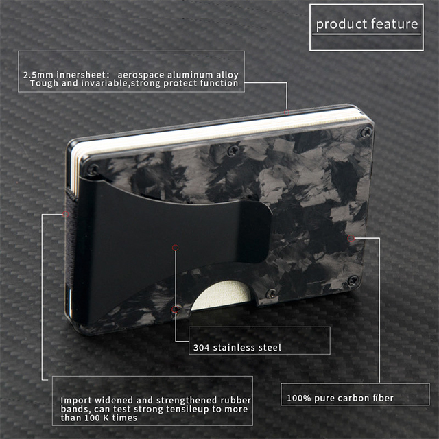 Hot selling Forged carbon fiber wallet black metal wallet bank Stainless steel business card holder