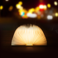 Wholesale Led Mini Wooden Folding Rechargeable Book Light / Led Desk Table book shaped lamp