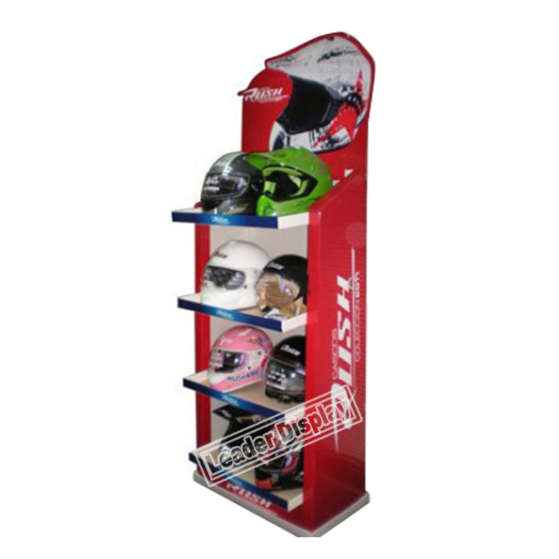 Customized professional retail promotional cardboard football helmet bicycle helmet display stand for helmet