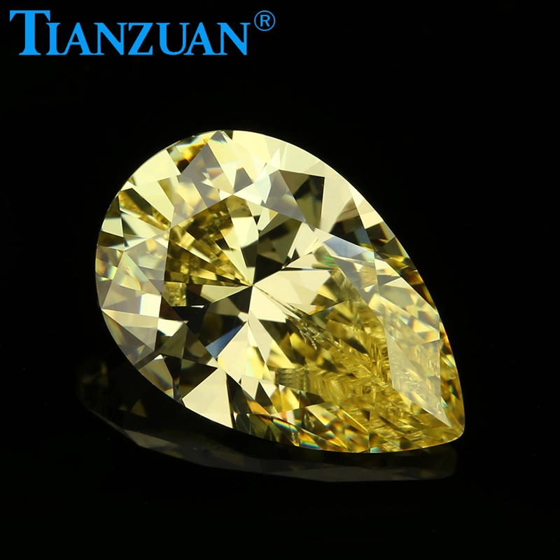 2020 hot deal Hot selling Top quality 6A <strong>pear</strong> yellow loose cubic <strong>zirconia</strong>
