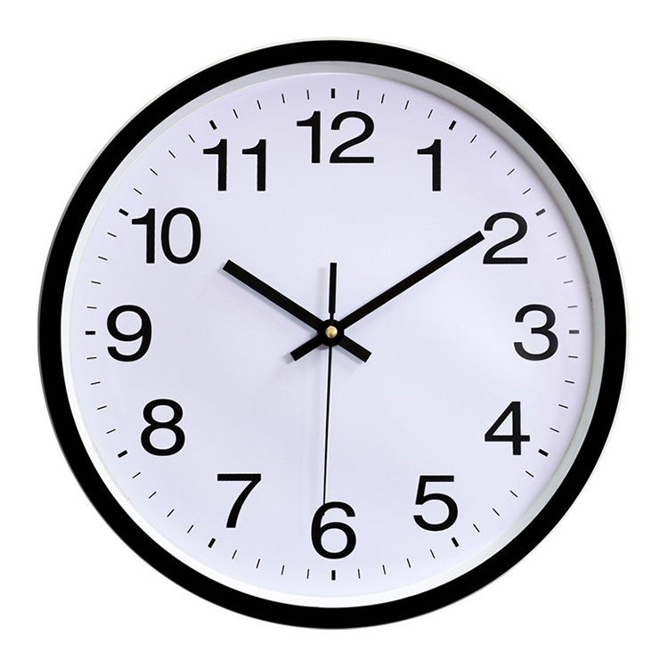 Home Decorative Wall Clock Simple Round Design 12 inch Silent Movement Cheap Plastic Wall Clock