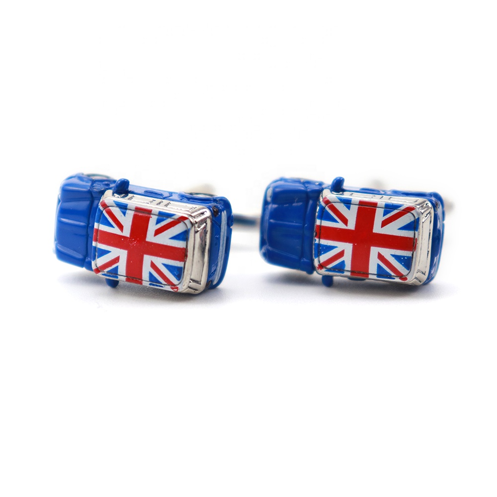 XINLI Neckwear Blue Solid Metal Rhodium <strong>Cufflink</strong> Fashion <strong>Custom</strong> <strong>Engraved</strong> UK Flag Screen Print Mini Cooper Car Logo <strong>Cufflinks</strong>